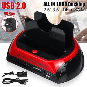 3.5″ 2.5″ IDE SATA DUAL HARD DRIVE HDD DOCKING STATION DOCK USB HUB CARD READER