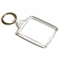 10 BLANK CLEAR KEYRINGS 45mm x 35mm A502 A5 45 35