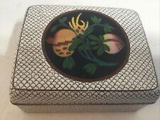 Rare Antique Japanese Cloisonne Enamel Trinkets Box - White With pomegranates