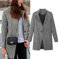 Womens Lapel Wool Cashmere Coat Trench Jacket Long Parka Slim Overcoat Outwear