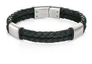 Fred Bennett Stainless Steel Mens B4373 Black Leather Bracelet with Brush Finish