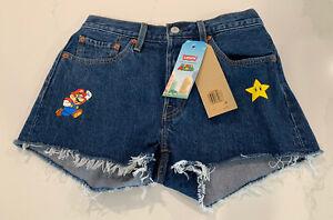 Levi's x Super Mario Nintendo 501 High Rise Denim Jean Shorts New W/Tag Women 27