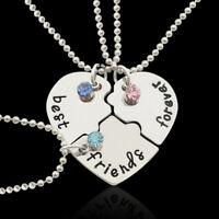 """3PCS Alloy """"Best Friends Forever"""" Heart Pendant Necklace Beauty Women Necklace"""