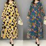 Women Long Sleeve Geometric Print Shirt Dress Kaftan Full Length Maxi Dress Plus