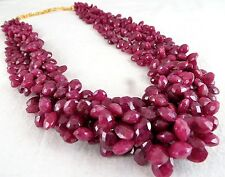 768 CTS NATURAL CERTIFIED RUBY BRIOLETTE LADIES BEADS NECKLACE WITH SILVER HOOK