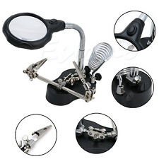 LED Hand Clip 3.5x&12x 3rd Helping Magnifying Solder Iron Stand Len Magnifier