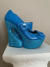 Vintage Terrari Blue Mod Platform Leather And Crystal Shoes. Euc