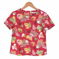 CATH KIDSTON Red Autumn Leaf Leaves Structured Boxy Blogger Cotton Top 8 UK