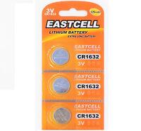3 x CR1632 3V Lithium Batterie 120 mAh ( 1 Blistercard a 3 Batterien EASTCELL)