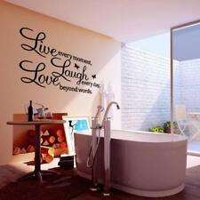 Removable PVC LIVE LAUGH LOVE Art Letters Room Mural Wall Sticker Decal Black