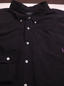 RALPH LAUREN Men's Button Front Thick 100% Cotton 6XB BIG BLACK L/S Shirt