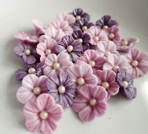 30 Edible Sugar Flowers, Mother's Day Purple Cake Decorations Cupcake Topper