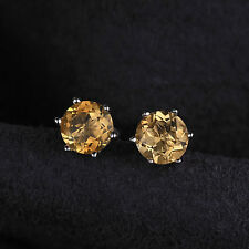 0.9ct 5mm Stunning Round Genuine Citrine Sterling Silver Stud Fashion Earrings