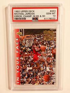 Michael Jordan Upper deck 1992 Real Error #453 Card GEM MINT PSA 10 Rookie RC SD