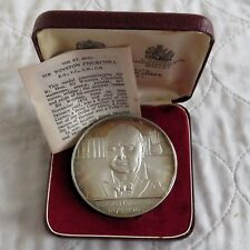 1965 WINSTON CHURCHILL MEMORIAL 58mm KOVACS SILVER PROOF MEDAL - cased