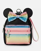 Minnie Mouse Sequined Mini Backpack Wristlet Loungefly Pastel Rainbow NEW Disney