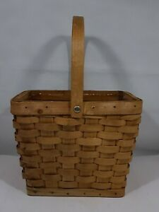 Vintage Woven Basket Planter Moveable Wood Handle Plastic Liner