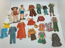 Odd lot of vintage 2 paper dolls, Paper And Rare Cloth Clothing Plus Dog And Cat