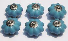 bleu clair fleur avec chromé FIXATIONS céramique porcelaine Placard tirer