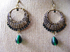 GOLDEN TIBETAN SILVER FILIGREE  HOOP GREEN RHINESTONES BEADED DANGLE EARRINGS