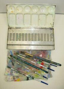 Vintage Used Art Lot Winsor & Newton Metal Watercolor Paint Palette Brush Cloth