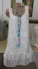 2b59daf6cb89ee Sommer Hippie Kleid Minikleid Vintage Weiß Stickerei Lagenlook Spitze  36-38-40