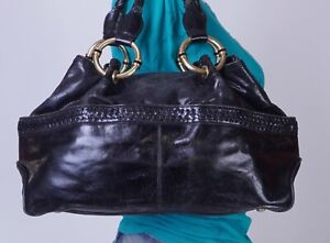 KENNETH COLE Medium Black  Leather Shoulder Hobo Tote Satchel Purse Bag