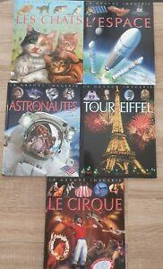 Lot livres LA GRANDE IMAGERIE Chats Espace Astronautes Tour Eiffel Cirque TBE