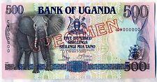 1991 Bank Of UGANDA 500 SHILLINGS SPECIMEN  P-33s  CW000000 UNC