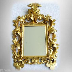 Decorative mirror with vintage ornate gilt wood frame - floral design