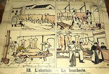 AFFICHE SCOLAIRE LEÇONS DE CHOSES N°12 & 11 L'ABATTOIR & LA BOUCHERIE/LA MUSIQUE