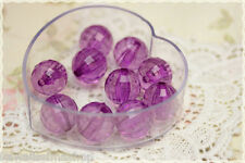 6pz Perle tonde sfaccettate colore VIOLA in plastica  trasparente 1,8 cm