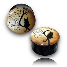 PAIR OF 000G 7/16 INCH (12MM) HAND PAINTED WOOD PLUGS TUNNELS PLUG GOTHIC CAT