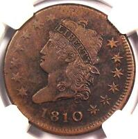 1810 Classic Liberty Head Large Cent - NGC AU Details -  Rare Key Date Penny