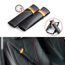 2x Euro Germany Flag Strip Carbon Fiber Pattern Car Seat Belt Cover Shoulder Pad