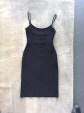 HERVE LEGER BLACK BODYCON LITTLE BLACK COCKTAIL DRESS SIZE S