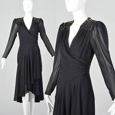 XXS 1980s Casadei Black Sequin Wrap Dress Beaded Sheer VTG V Neck Cocktail Dress