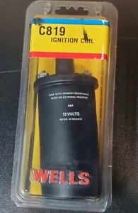 Wells C819 Ignition Coil 12V New old stock Ford Chevy Dodge Honda AMC