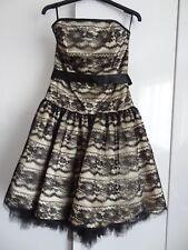 JESSICA McCLINTOCK/Gunne Sax Black/Gold Corset Bodice Prom Dress US 7/8 UK 11/12