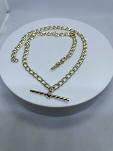 """Hallmarked 9ct Solid Gold open Link Curb Necklace With T Bar 18"""""""