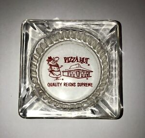 Vintage 1970's Pizza Hut Restaurant Ashtray With Red Logo Design FREE SHIPPING