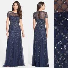 NEW! Adrianna Papell Beaded Mesh Gown Navy Blue  [SZ 8 16 ] #N148