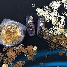 Ultra-thin Gold Rivet Nail Art Studs Time Wheel Steam Metal Manicure Decoration
