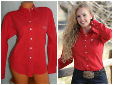 CRUEL GIRL Medium SHIRT BLOUSE Western Cowgirl Rodeo RED Button Down    8