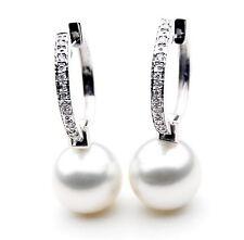 $7,999 Pacific Pearls® AAA 13mm Australian South Sea Pearl Earrings Diamonds