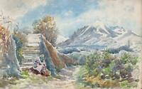 MOUNTAIN LANDSCAPE MENTON FRENCH RIVIERA Watercolour Painting 1924 IMPRESSIONIST