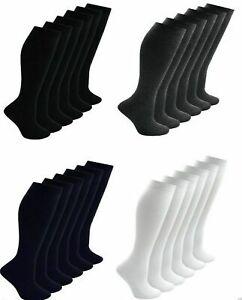 1,3,6 Pair Girls Ladies Long Cotton Uniform Knee High School Socks Lot All Sizes