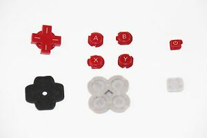 Original Official Authentic Nintendo 3DS Part Red Button Set & Rubber Pad