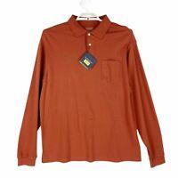Roundtree & York Mens Polo Shirt Orange Silky Cotton Golf Long Sleeve Tall L New