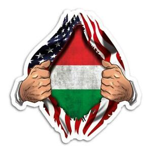 Gift Sticker : Hungary Flag USA American Chest Hungarian Expat Country